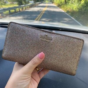 SPARKLY Kate Spade Glitter Gold Wallet